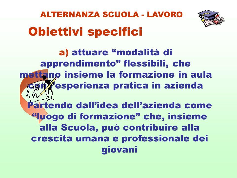 a) attuare modalità di apprendimento flessibili, che mettano insieme la formazione in aula con lesperienza pratica in azienda Obiettivi specifici ALTE
