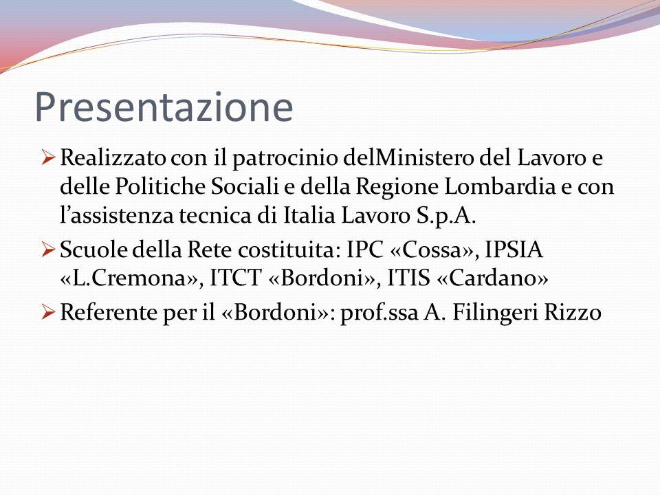 Presentazione Realizzato con il patrocinio delMinistero del Lavoro e delle Politiche Sociali e della Regione Lombardia e con lassistenza tecnica di Italia Lavoro S.p.A.