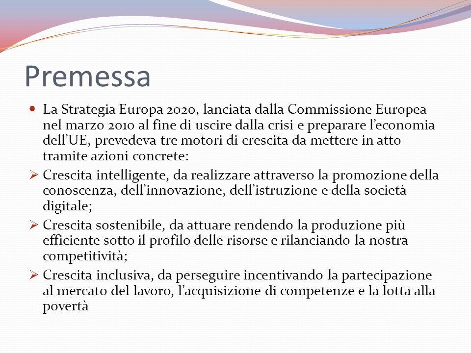 Premessa La Strategia Europa 2020, lanciata dalla Commissione Europea nel marzo 2010 al fine di uscire dalla crisi e preparare leconomia dellUE, prevedeva tre motori di crescita da mettere in atto tramite azioni concrete: Crescita intelligente, da realizzare attraverso la promozione della conoscenza, dellinnovazione, dellistruzione e della società digitale; Crescita sostenibile, da attuare rendendo la produzione più efficiente sotto il profilo delle risorse e rilanciando la nostra competitività; Crescita inclusiva, da perseguire incentivando la partecipazione al mercato del lavoro, lacquisizione di competenze e la lotta alla povertà
