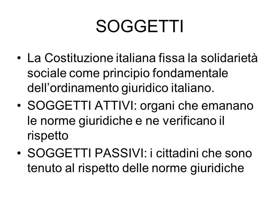 SOGGETTI La Costituzione italiana fissa la solidarietà sociale come principio fondamentale dellordinamento giuridico italiano.