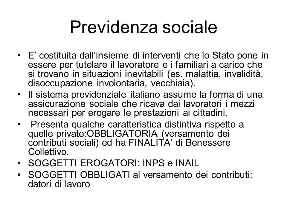 Previdenza sociale E costituita dallinsieme di interventi che lo Stato pone in essere per tutelare il lavoratore e i familiari a carico che si trovano in situazioni inevitabili (es.
