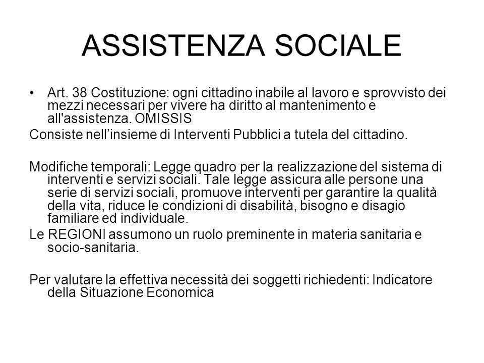 ASSISTENZA SOCIALE Art.
