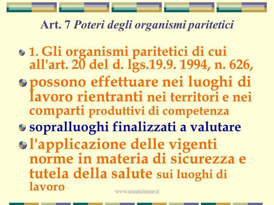 www.nunzioleone.it Art. 7 Poteri degli organismi paritetici 1.