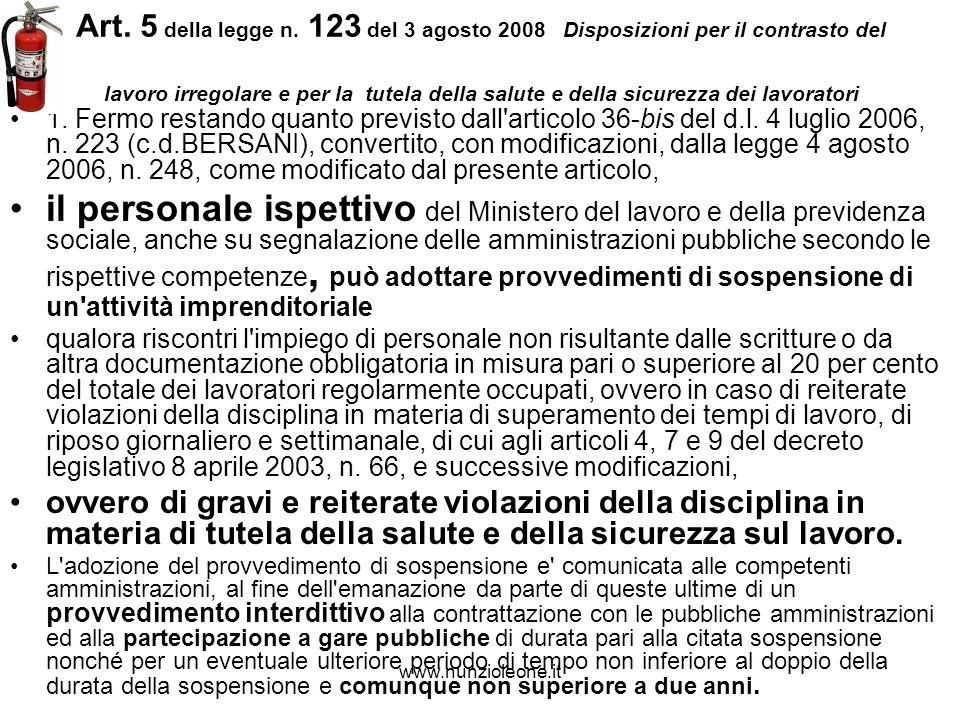 www.nunzioleone.it Art. 5 della legge n.