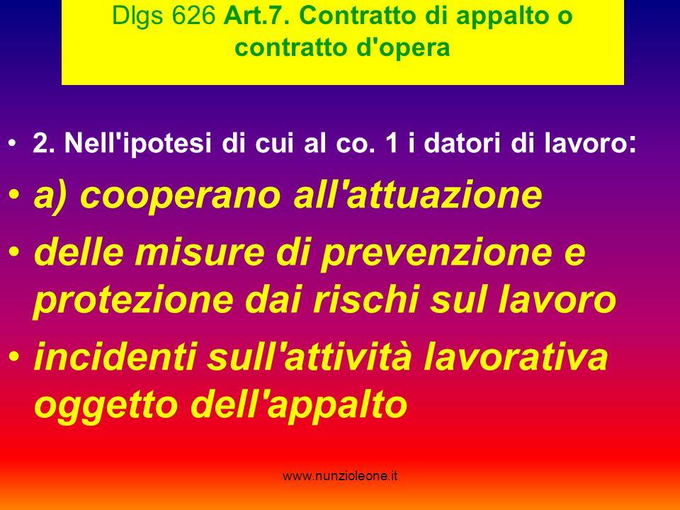 www.nunzioleone.it Dlgs 626 Art.7. Contratto di appalto o contratto d opera 2.