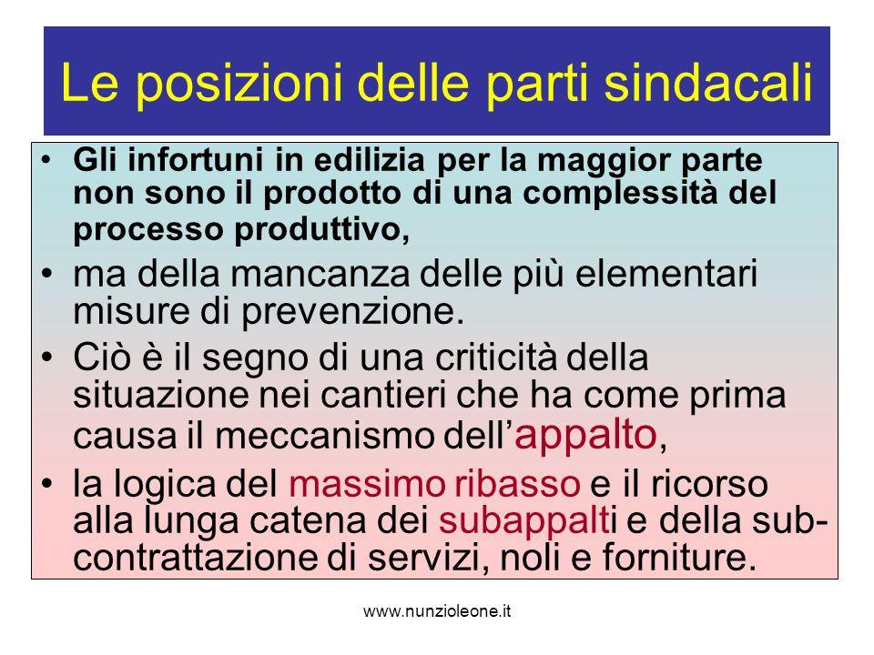 www.nunzioleone.it Le posizioni delle parti sindacali Gli infortuni in edilizia per la maggior parte non sono il prodotto di una complessità del processo produttivo, ma della mancanza delle più elementari misure di prevenzione.