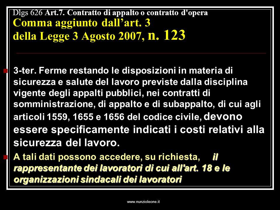 www.nunzioleone.it Dlgs 626 Art.7. Contratto di appalto o contratto d opera Comma aggiunto dallart.