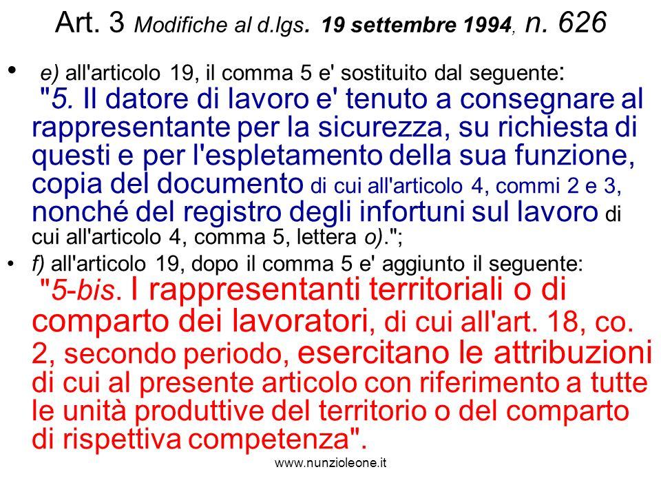 www.nunzioleone.it Art. 3 Modifiche al d.lgs. 19 settembre 1994, n.