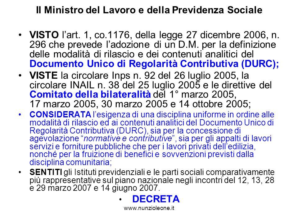 www.nunzioleone.it Il Ministro del Lavoro e della Previdenza Sociale VISTO lart.
