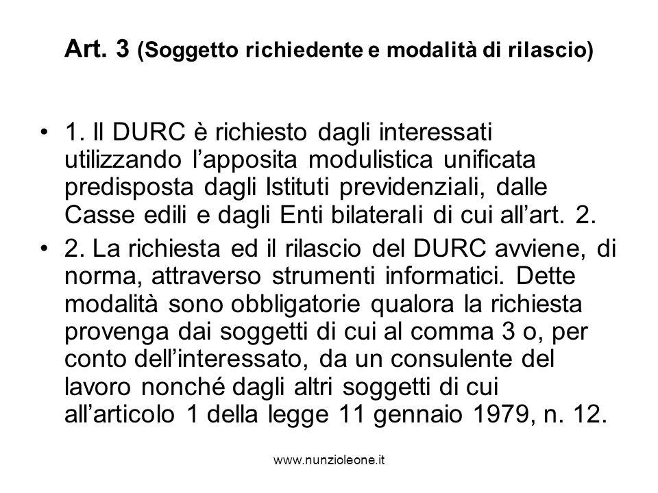 www.nunzioleone.it Art. 3 (Soggetto richiedente e modalità di rilascio) 1.