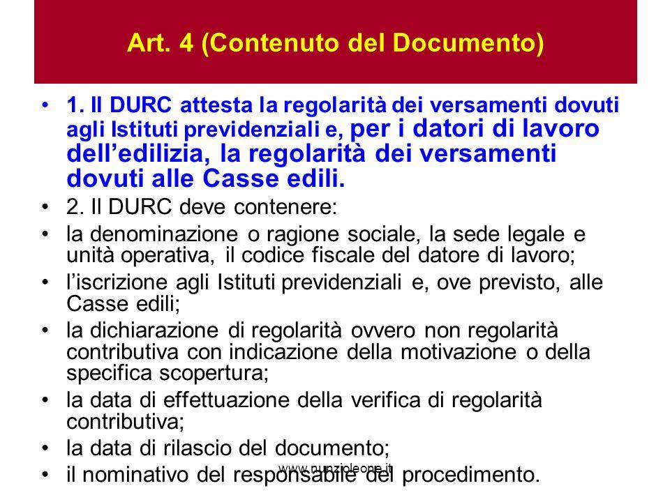 www.nunzioleone.it Art. 4 (Contenuto del Documento) 1.
