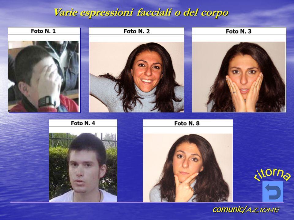 comunic/ AZIONE Varie espressioni facciali o del corpo