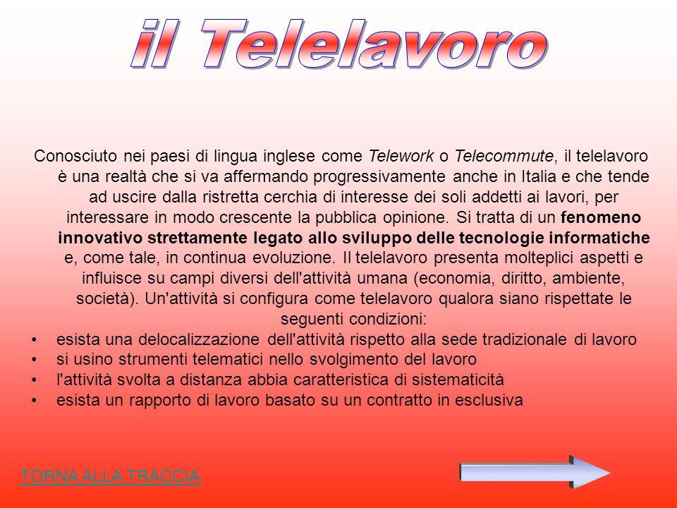 Conosciuto nei paesi di lingua inglese come Telework o Telecommute, il telelavoro è una realtà che si va affermando progressivamente anche in Italia e