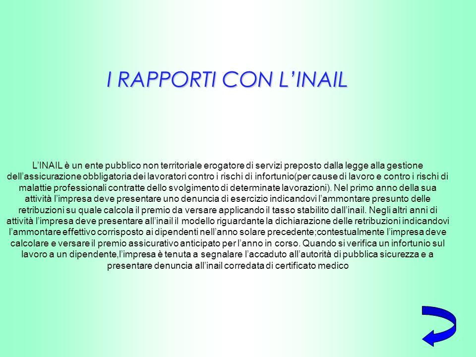 I RAPPORTI CON LINAIL LINAIL è un ente pubblico non territoriale erogatore di servizi preposto dalla legge alla gestione dellassicurazione obbligatori