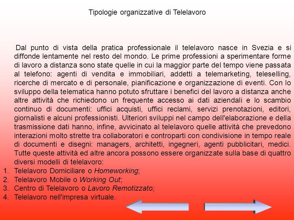 Tipologie organizzative di Telelavoro Dal punto di vista della pratica professionale il telelavoro nasce in Svezia e si diffonde lentamente nel resto