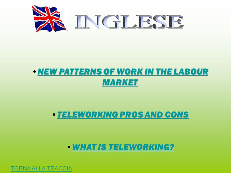 NEW PATTERNS OF WORK IN THE LABOUR MARKETNEW PATTERNS OF WORK IN THE LABOUR MARKETNEW PATTERNS OF WORK IN THE LABOUR MARKETNEW PATTERNS OF WORK IN THE LABOUR MARKET TELEWORKING PROS AND CONSTELEWORKING PROS AND CONSTELEWORKING PROS AND CONSTELEWORKING PROS AND CONS WHAT IS TELEWORKING?WHAT IS TELEWORKING?WHAT IS TELEWORKING?WHAT IS TELEWORKING.