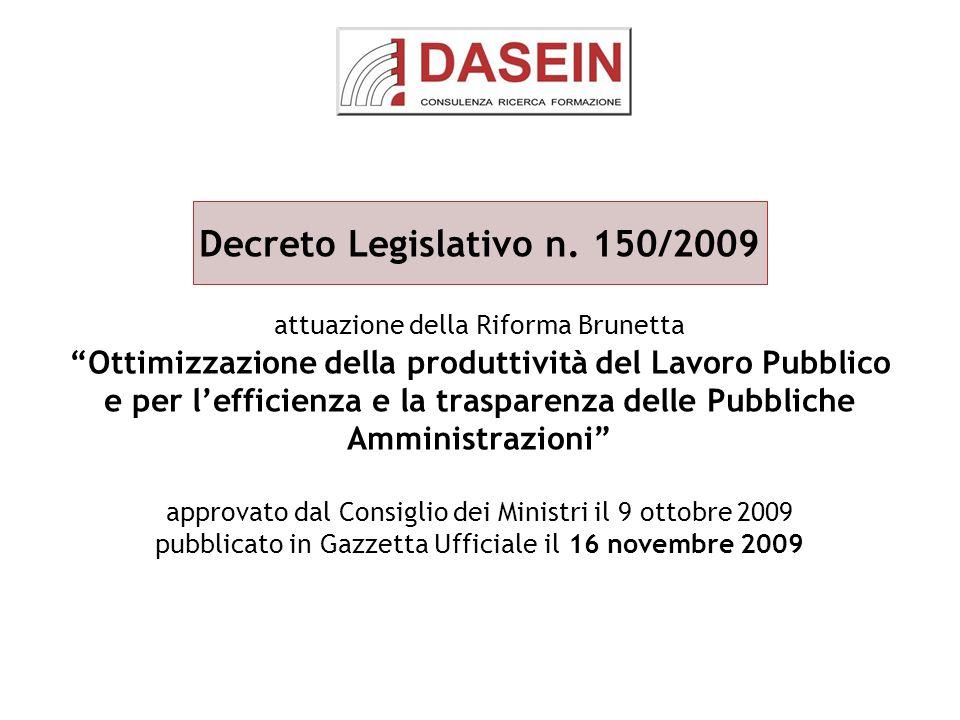 Decreto Legislativo n. 150/2009 attuazione della Riforma Brunetta Ottimizzazione della produttività del Lavoro Pubblico e per lefficienza e la traspar