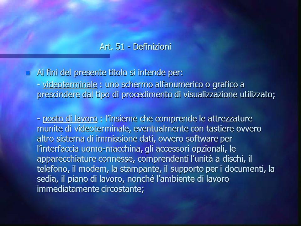 Art. 51 - Definizioni n Ai fini del presente titolo si intende per: - videoterminale : uno schermo alfanumerico o grafico a prescindere dal tipo di pr