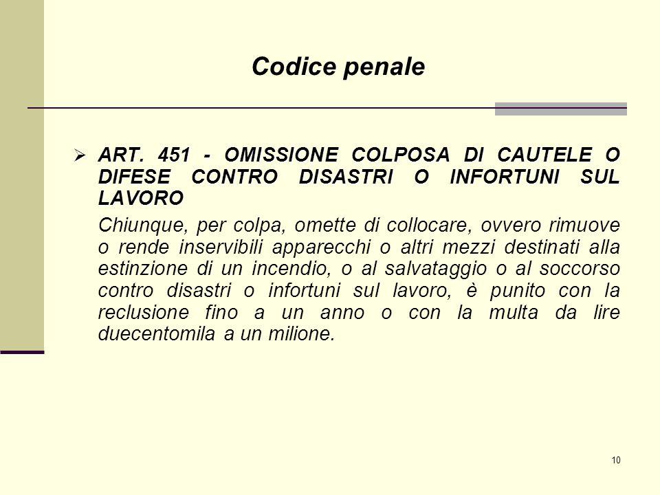 10 ART. 451 - OMISSIONE COLPOSA DI CAUTELE O DIFESE CONTRO DISASTRI O INFORTUNI SUL LAVORO ART. 451 - OMISSIONE COLPOSA DI CAUTELE O DIFESE CONTRO DIS