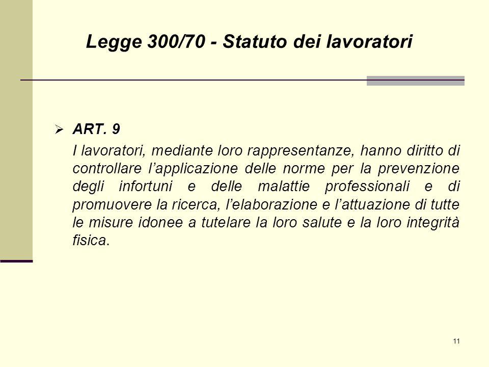 11 ART. 9 ART. 9 I lavoratori, mediante loro rappresentanze, hanno diritto di controllare lapplicazione delle norme per la prevenzione degli infortuni