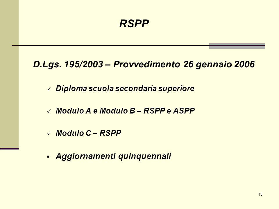 18 D.Lgs. 195/2003 – Provvedimento 26 gennaio 2006 Diploma scuola secondaria superiore Modulo A e Modulo B – RSPP e ASPP Modulo C – RSPP Aggiornamenti
