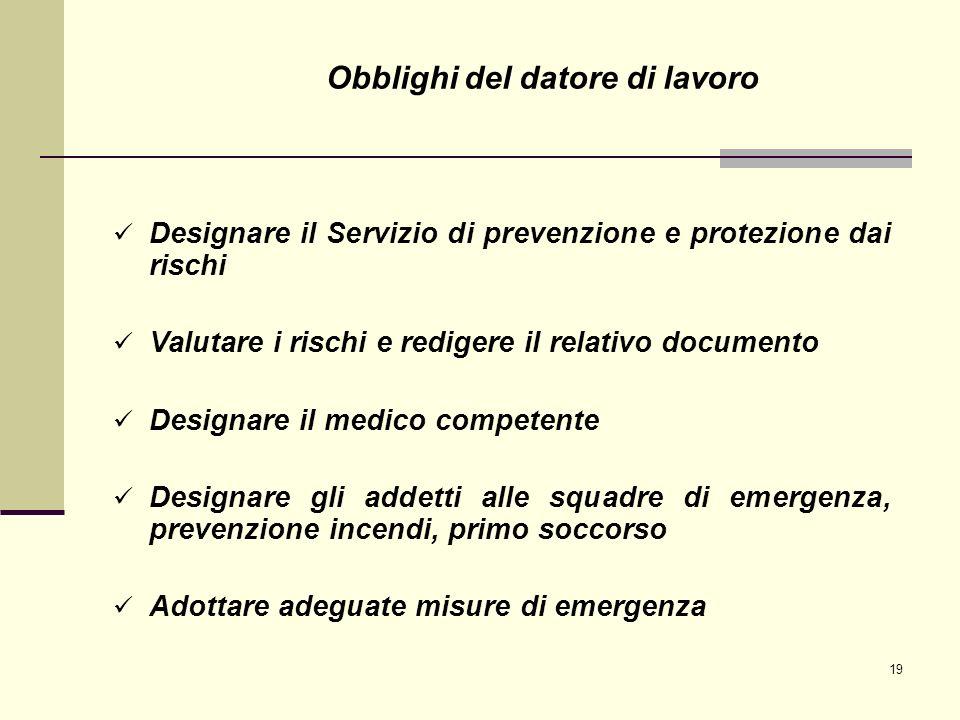 19 Designare il Servizio di prevenzione e protezione dai rischi Valutare i rischi e redigere il relativo documento Designare il medico competente Desi