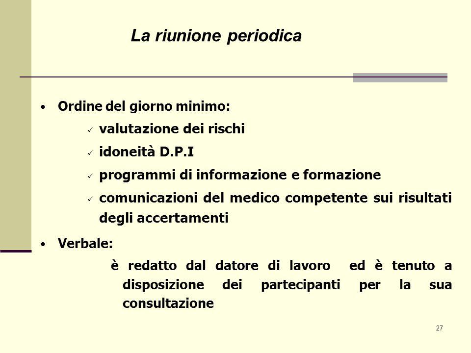 27 Ordine del giorno minimo: valutazione dei rischi idoneità D.P.I programmi di informazione e formazione comunicazioni del medico competente sui risu