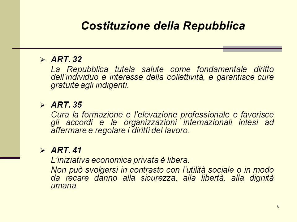 6 ART. 32 ART. 32 La Repubblica tutela salute come fondamentale diritto dellindividuo e interesse della collettività, e garantisce cure gratuite agli