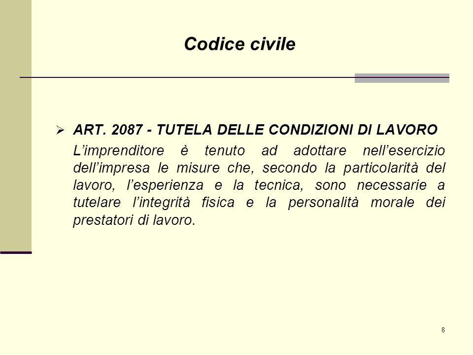 8 ART. 2087 - TUTELA DELLE CONDIZIONI DI LAVORO ART. 2087 - TUTELA DELLE CONDIZIONI DI LAVORO Limprenditore è tenuto ad adottare nellesercizio dellimp