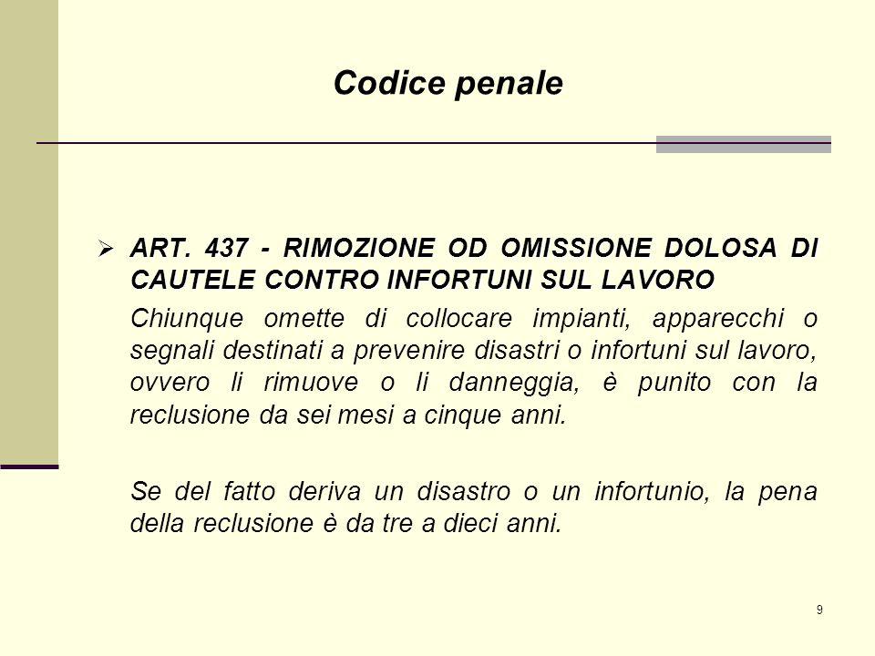 9 ART. 437 - RIMOZIONE OD OMISSIONE DOLOSA DI CAUTELE CONTRO INFORTUNI SUL LAVORO ART. 437 - RIMOZIONE OD OMISSIONE DOLOSA DI CAUTELE CONTRO INFORTUNI