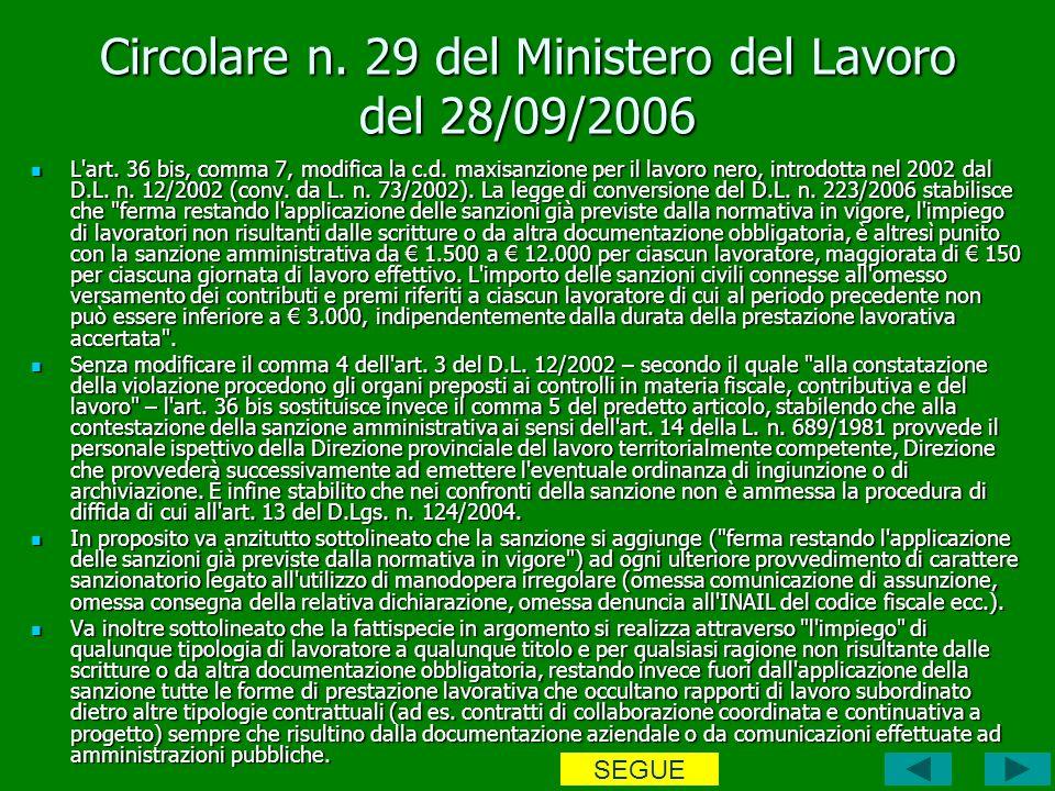 Circolare n. 29 del Ministero del Lavoro del 28/09/2006 L art.