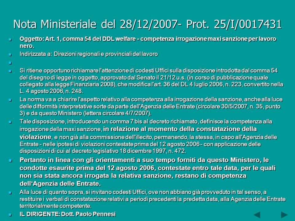 Nota Ministeriale del 28/12/2007- Prot. 25/I/0017431 Oggetto: Art.