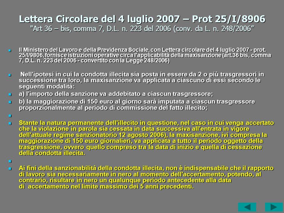 Lettera Circolare del 4 luglio 2007 – Prot 25/I/8906 Art 36 – bis, comma 7, D.L.