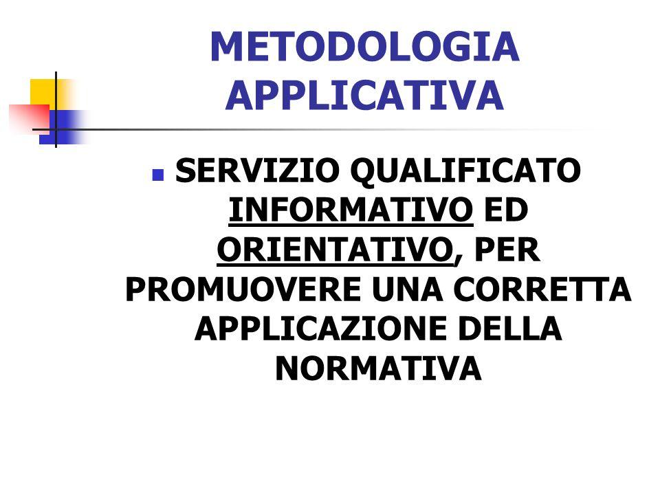 METODOLOGIA APPLICATIVA SERVIZIO QUALIFICATO INFORMATIVO ED ORIENTATIVO, PER PROMUOVERE UNA CORRETTA APPLICAZIONE DELLA NORMATIVA