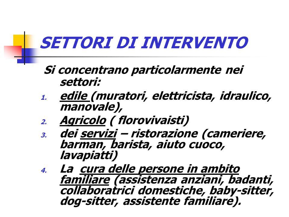 SETTORI DI INTERVENTO Si concentrano particolarmente nei settori: 1. edile (muratori, elettricista, idraulico, manovale), 2. Agricolo ( florovivaisti)