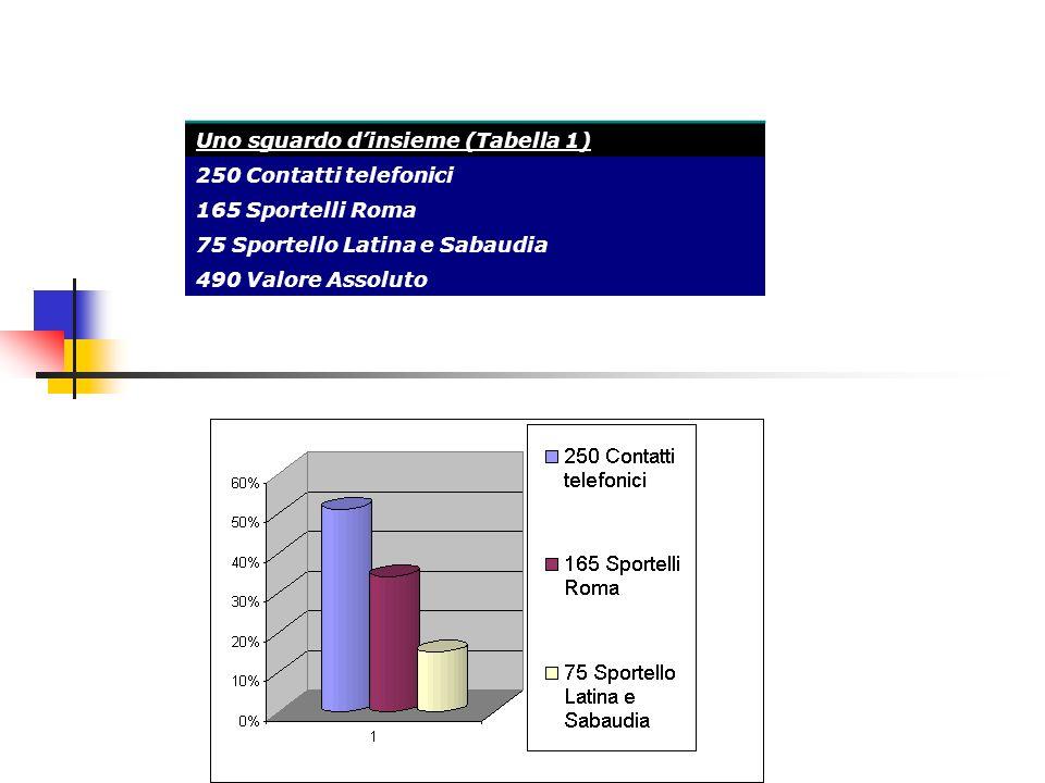 Uno sguardo dinsieme (Tabella 1) 250 Contatti telefonici 165 Sportelli Roma 75 Sportello Latina e Sabaudia 490 Valore Assoluto