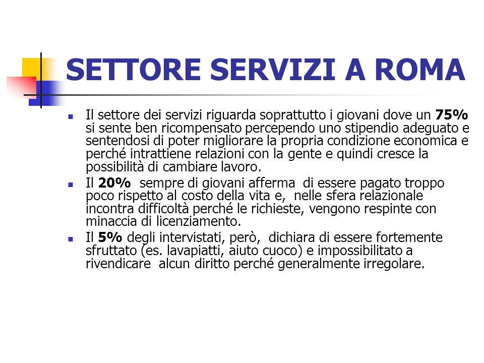 SETTORE SERVIZI A ROMA Il settore dei servizi riguarda soprattutto i giovani dove un 75% si sente ben ricompensato percependo uno stipendio adeguato e