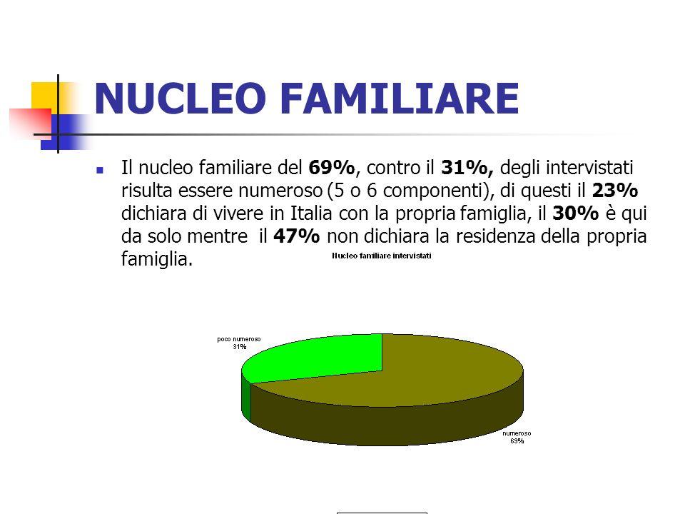 NUCLEO FAMILIARE Il nucleo familiare del 69%, contro il 31%, degli intervistati risulta essere numeroso (5 o 6 componenti), di questi il 23% dichiara