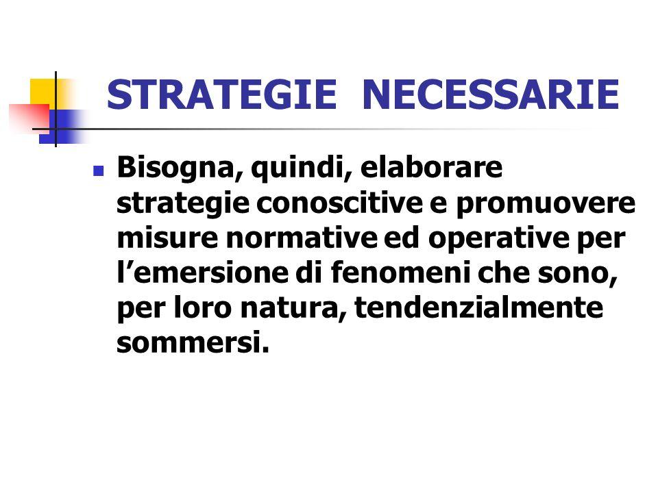 STRATEGIE NECESSARIE Bisogna, quindi, elaborare strategie conoscitive e promuovere misure normative ed operative per lemersione di fenomeni che sono,