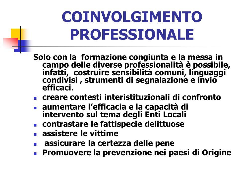 COINVOLGIMENTO PROFESSIONALE Solo con la formazione congiunta e la messa in campo delle diverse professionalità è possibile, infatti, costruire sensib