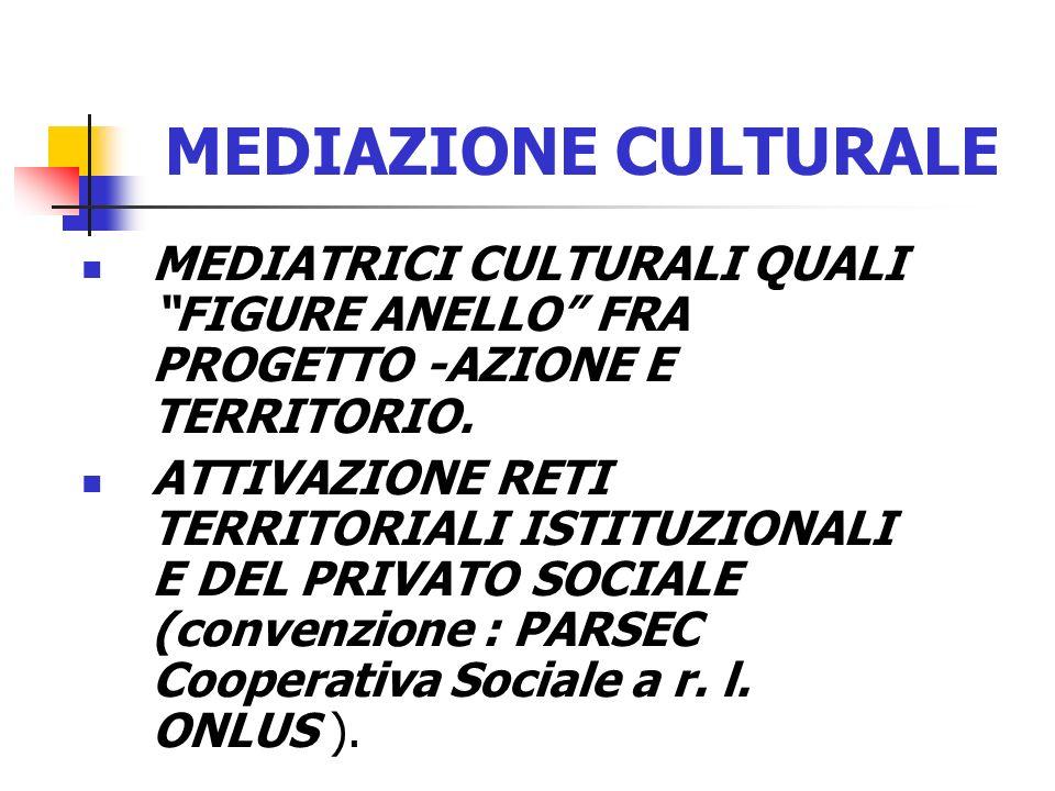 MEDIAZIONE CULTURALE MEDIATRICI CULTURALI QUALI FIGURE ANELLO FRA PROGETTO -AZIONE E TERRITORIO. ATTIVAZIONE RETI TERRITORIALI ISTITUZIONALI E DEL PRI