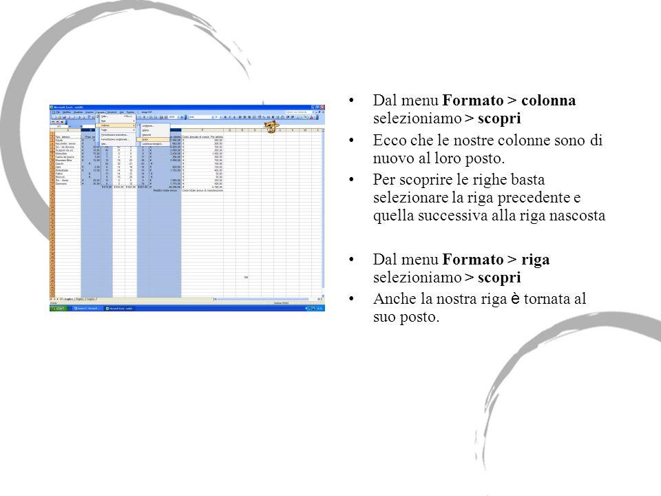 Dal menu Formato > colonna selezioniamo > scopri Ecco che le nostre colonne sono di nuovo al loro posto. Per scoprire le righe basta selezionare la ri