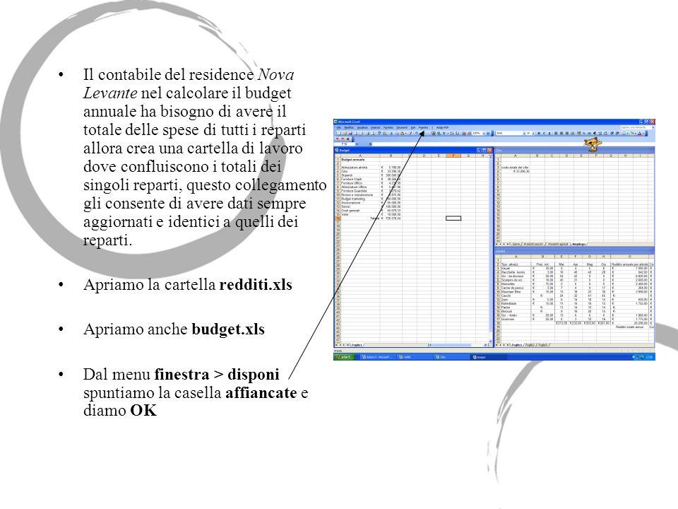 Il contabile del residence Nova Levante nel calcolare il budget annuale ha bisogno di avere il totale delle spese di tutti i reparti allora crea una c