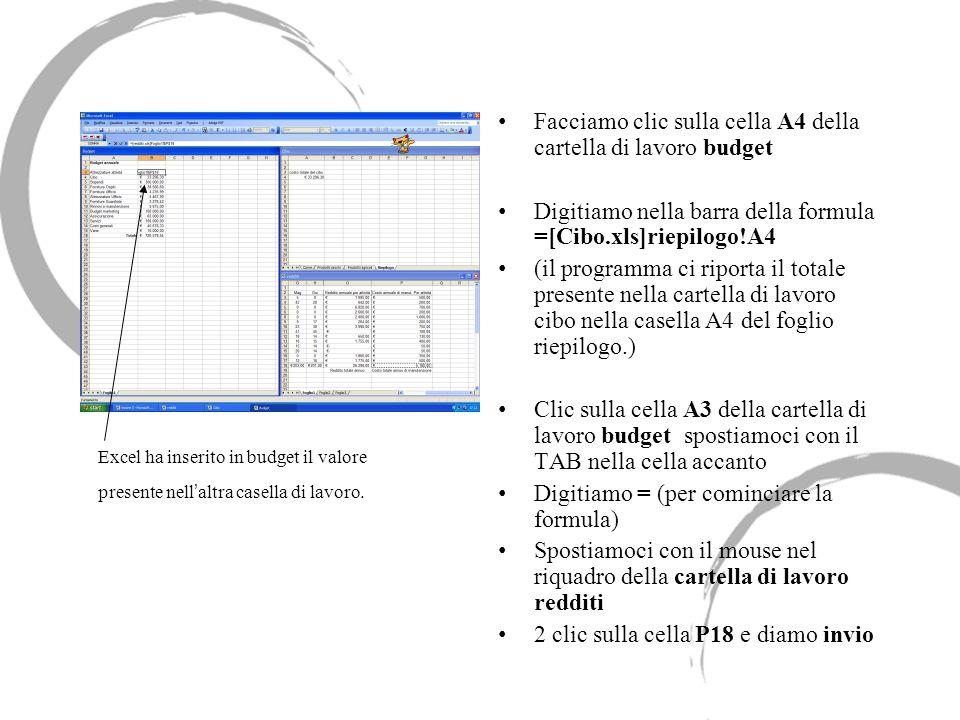 Facciamo clic sulla cella A4 della cartella di lavoro budget Digitiamo nella barra della formula =[Cibo.xls]riepilogo!A4 (il programma ci riporta il t