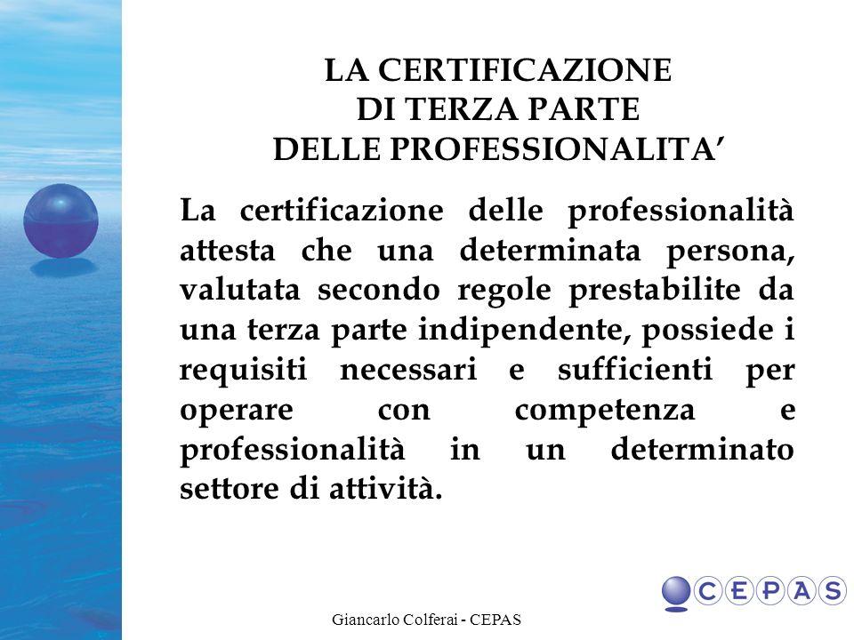 Giancarlo Colferai - CEPAS METODI DI VALUTAZIONE La valutazione, in funzione degli obiettivi definiti e della complessità della professione richiesta, può essere effettuata da una sola persona o da un panel di esperti, utilizzando i metodi riportati nella tavola seguente.