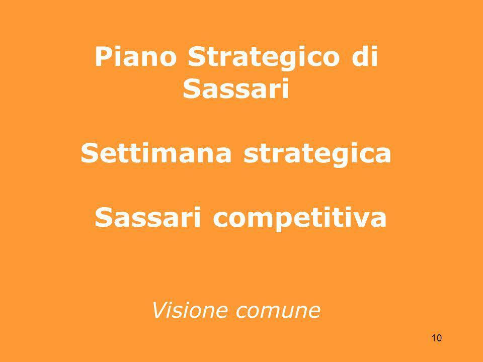 10 Piano Strategico di Sassari Settimana strategica Sassari competitiva Visione comune