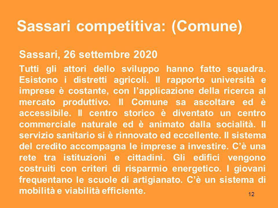 12 Sassari, 26 settembre 2020 Tutti gli attori dello sviluppo hanno fatto squadra.