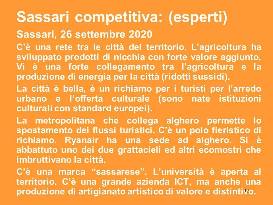 14 Sassari, 26 settembre 2020 Cè una rete tra le città del territorio.