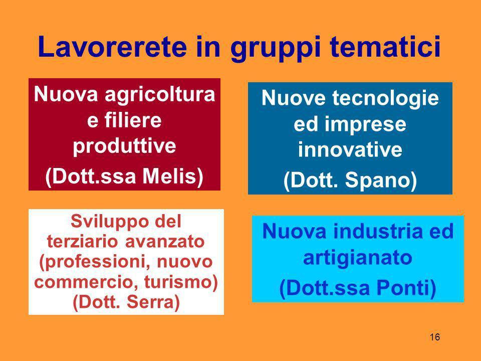 16 Lavorerete in gruppi tematici Nuova agricoltura e filiere produttive (Dott.ssa Melis) Nuove tecnologie ed imprese innovative (Dott.
