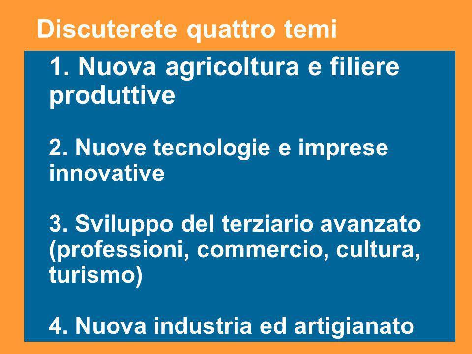 3 1. Nuova agricoltura e filiere produttive 2. Nuove tecnologie e imprese innovative 3. Sviluppo del terziario avanzato (professioni, commercio, cultu